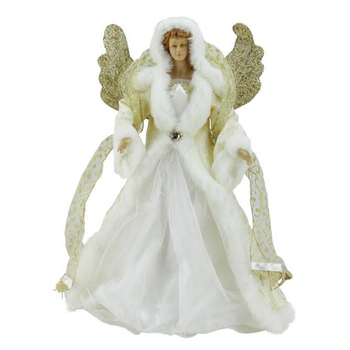 """18"""" White and Gold Angel Christmas Tree Topper - Unlit - IMAGE 1"""