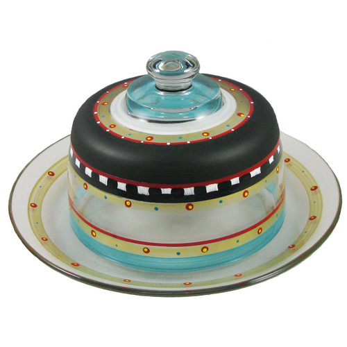 """11"""" Black and Blue Mosaic Chalkboard with Stripes Hand Painted Glass Convertible Cake Dome - IMAGE 1"""