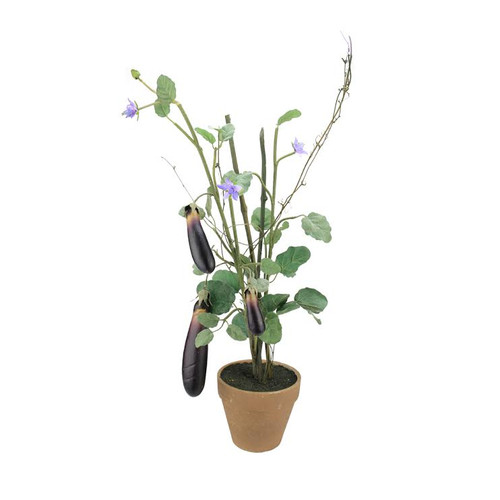 """30"""" Purple and Green Artificial Egg Plant in Terra Cotta Pot - IMAGE 1"""