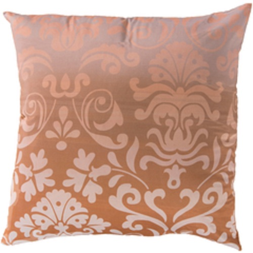 """18"""" Brown and Ivory Floral Pattern Indoor Square Throw Pillow - Poly Filled - IMAGE 1"""