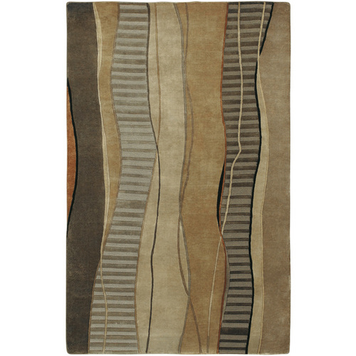 9' x 13' Rock Layers Driftwood Brown and Gray Hand Knotted Rectangular Area Throw Rug - IMAGE 1