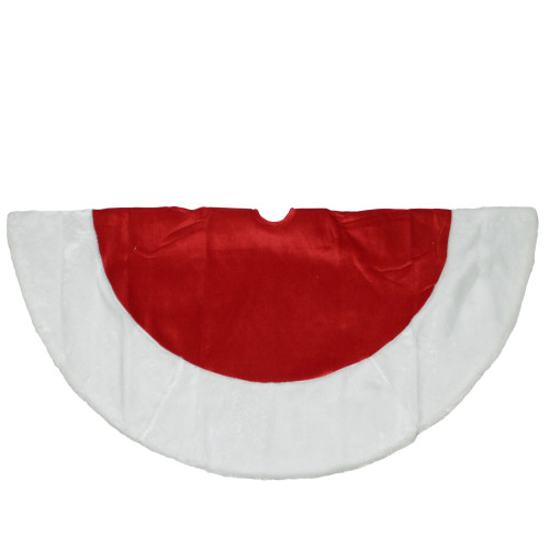 """48"""" Red and White Traditional Christmas Tree Skirt - IMAGE 1"""