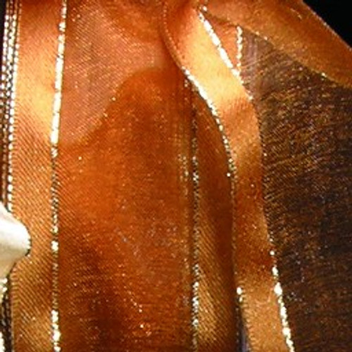 """Brown and Gold Striped Wired Edge Craft Ribbon 1.5"""" x 27 Yards - IMAGE 1"""