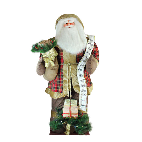 8' Green and Red LED Lighted Inflatable Musical Santa Claus Christmas Figurine with Gift Bag - IMAGE 1