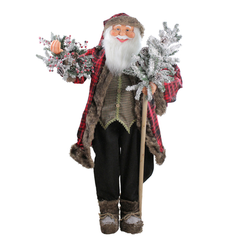 5' Red and Gray Standing Santa Claus Christmas Figurine with Flocked Alpine Tree - IMAGE 1