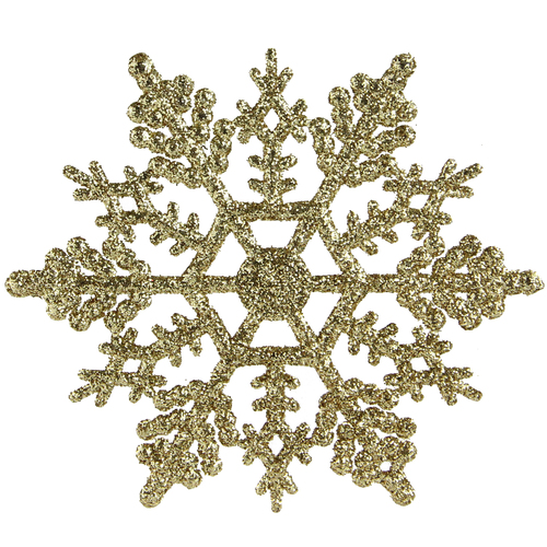 "Club Pack of 24 Gold Glamour Glitter Snowflake Christmas Ornaments 4"" - IMAGE 1"