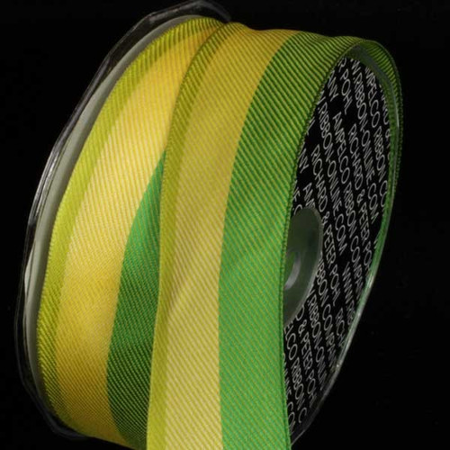 """Green and Yellow Stripe Wired Craft Ribbon 1.5"""" x 54 Yards - IMAGE 1"""
