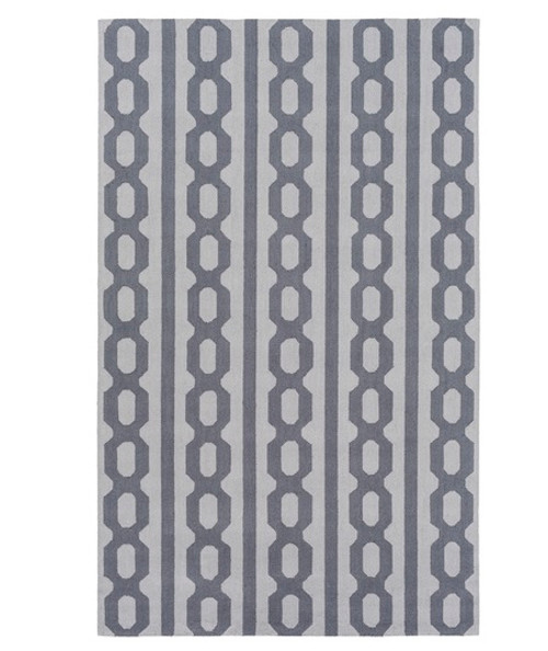 8' x 10' Navy Blue and Gray Hand Hooked Rectangular Wool Area Throw Rug - IMAGE 1