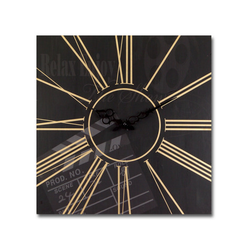 """15.5"""" Black and Gold Movie Clapperboard Square Wall Clock - IMAGE 1"""