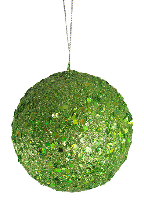 "Holographic Glitter Drenched Lime Green Shatterproof Christmas Ball Ornament 4.75"" (120mm) - IMAGE 1"