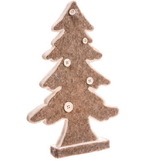 """12"""" Beige and White Buttoned Christmas Tree Tabletop Decor - IMAGE 1"""