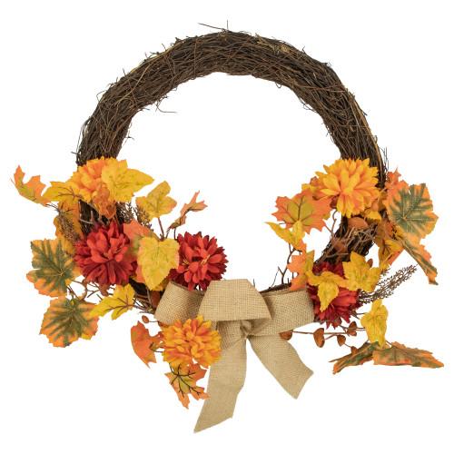 Fall Leaf with Mum Flower Artificial Thanksgiving Twig Wreath, Orange 20-Inch - IMAGE 1