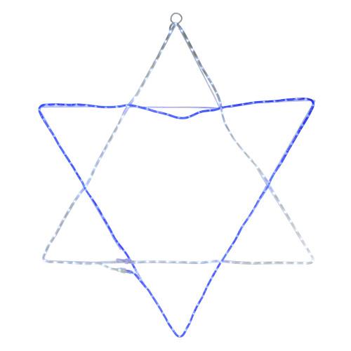 "72"" Blue and White LED Rope Light Star of David Hanukkah Decor - IMAGE 1"