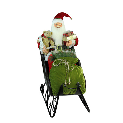 4' Deluxe Animated Musical Santa Claus in Jeweled Sleigh Christmas Decoration - IMAGE 1