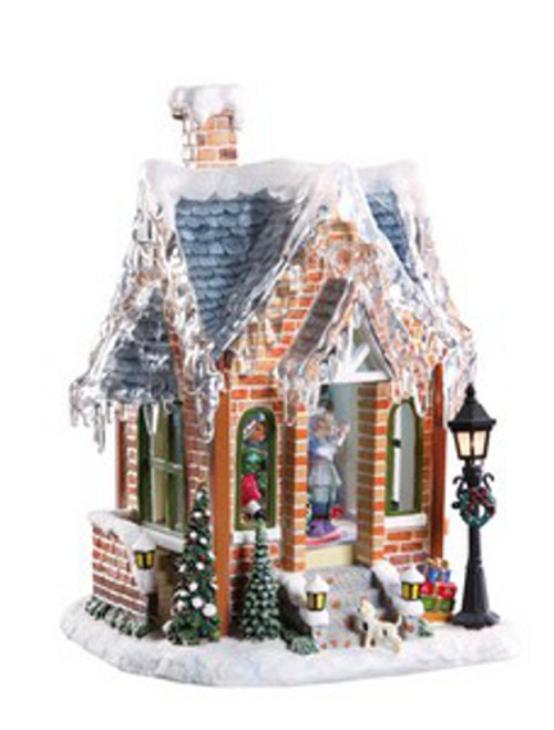 """Set of 2 Brown and White Animated Musical Gingerbread House Christmas Figurines 11.5"""" - IMAGE 1"""