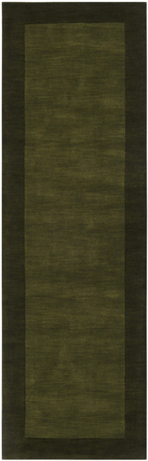 2.5' x 8' Solid Olive Green Hand Loomed Rectangular Wool Area Throw Rug Runner - IMAGE 1
