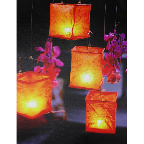 """LED Lighted Flickering Garden Lantern Candles with Pink Orchids Canvas Wall Art 15.75"""" x 11.75"""" - IMAGE 1"""