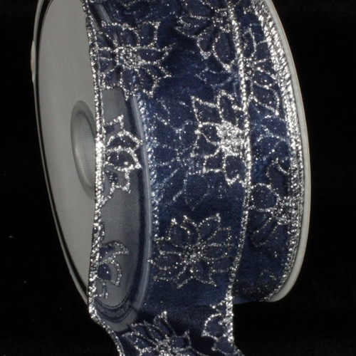 "Sheer Navy Blue and Silver Little Poinsettia Wired Craft Ribbon 2"" x 40 Yards - IMAGE 1"