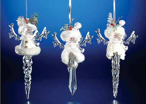 """Club Pack of 12 Clear Icy Crystal Christmas Snowman Icicle Ornaments 7.8"""" - IMAGE 1"""