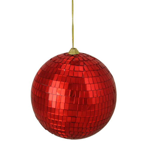 """Red Disco Shatterproof Mirrored Christmas Ball Ornament 5.5"""" (140mm) - IMAGE 1"""