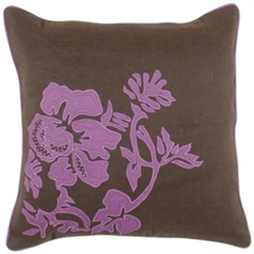 """18"""" Brown and Pink Floral Pattern Square Throw Pillow - Poly Filled - IMAGE 1"""