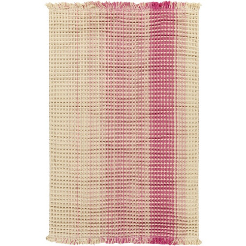 8' x 10' Waffle Weave Brown and Pink Hand Woven Rectangular Wool Area Throw Rug - IMAGE 1