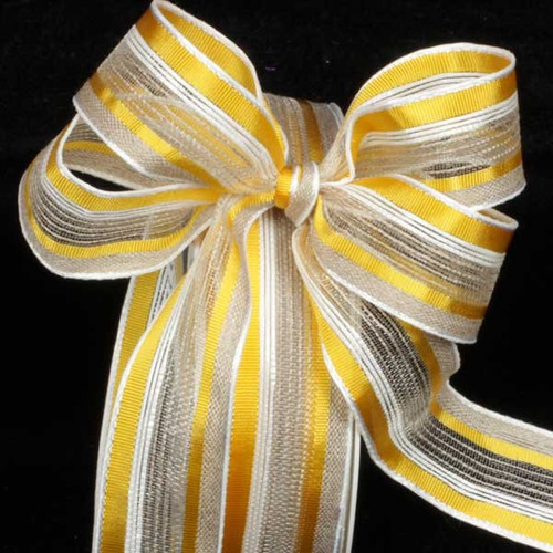 """Yellow and White Striped French Wired Craft Ribbon 1"""" x 22 Yards - IMAGE 1"""