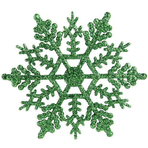 "Club Pack of 24 Xmas Green Glitter Snowflake Christmas Ornaments 4"" - IMAGE 1"