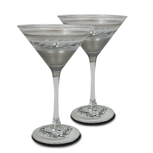 "Set of 2 Clear Pewter Vine Hand Painted Martini Drinking Stemware Glasses 7"" - IMAGE 1"