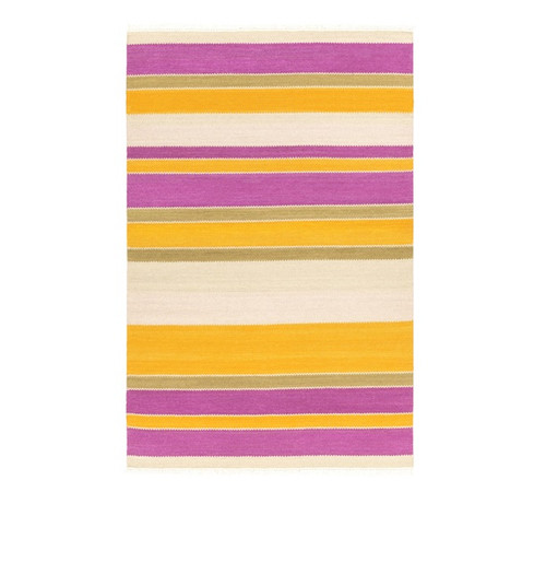 5' x 7.5' Spring Time Pink and Yellow Wool Area Throw Rug - IMAGE 1