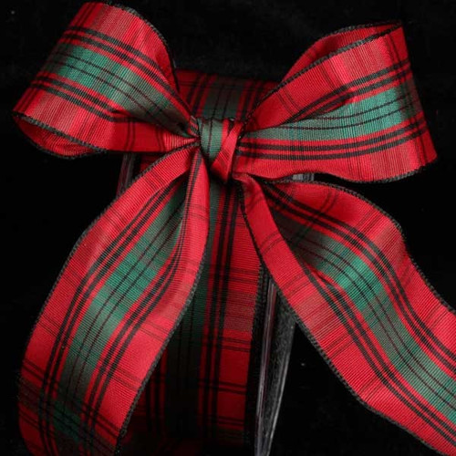 """Red and Black French Plaid Wired Craft Ribbon 1.5"""" x 27 Yards - IMAGE 1"""