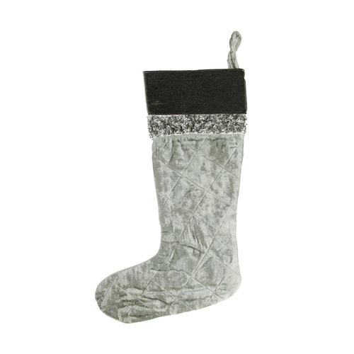 """22"""" Gray and Black Quilted Embellished Christmas Stocking - IMAGE 1"""