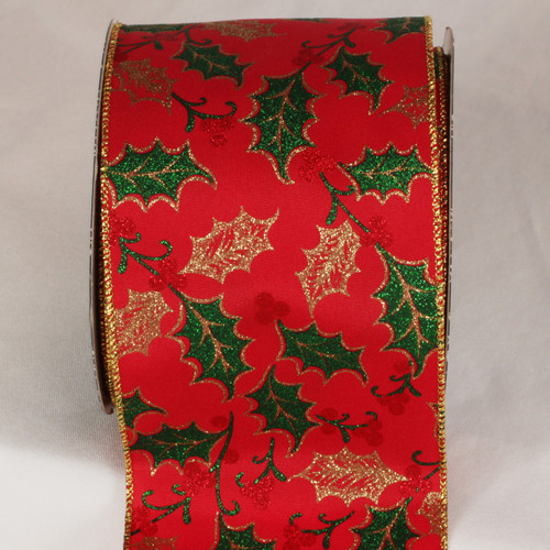 """Red and Gold Christmas Mistletoe Kisses Wired Craft Ribbon 4"""" x 20 Yards - IMAGE 1"""