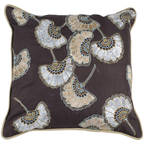 """18"""" Brown and White Vintage Hand Fan Patterned Throw Pillow - Down Filler - IMAGE 1"""
