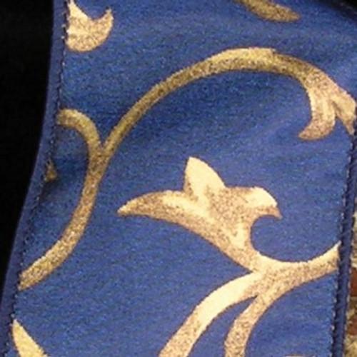 "Navy Blue and Gold Taffeta Swirl Wired Craft Ribbon 2.5"" x 20 Yards - IMAGE 1"