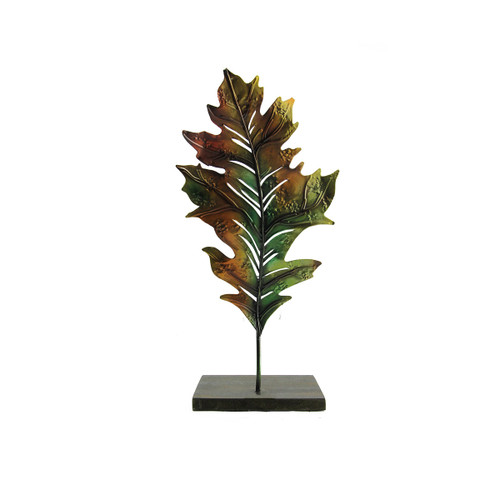 "14"" Green and Brown Autumn Harvest Leaf Votive Candle Holder - IMAGE 1"