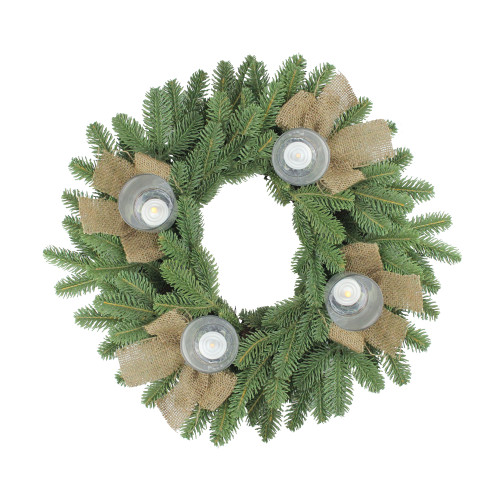Green and Brown Pine Artificial Christmas Wreath with Candle Holder - 21-Inch, Unlit - IMAGE 1