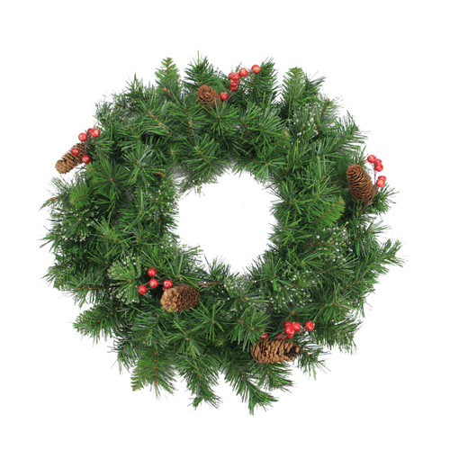 Iced Mixed Pine and Berry with Pine Cone Artificial Christmas Wreath - 24-Inch, Unlit - IMAGE 1