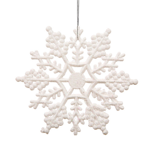 "Club Pack of 24 White Glitter Snowflake Christmas Ornaments 4"" - IMAGE 1"