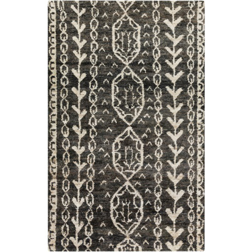 8' x 11' Black and Eggshell White Hand Knotted Area Throw Rug - IMAGE 1
