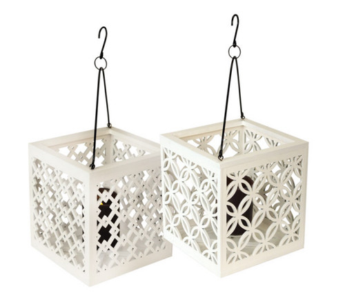 "8.5"" Metro White Geometric Diamond Lattice Hanging Patio Pillar Candle Lantern - IMAGE 1"