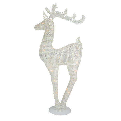 """36"""" White and Silver Glitter LED Lighted Reindeer Christmas Tabletop Decor - IMAGE 1"""