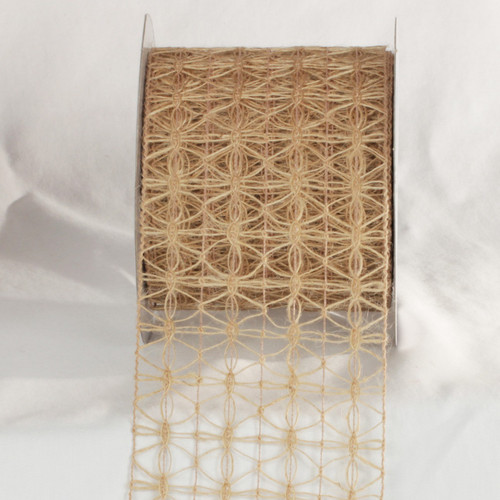 """Brown Woven Netting Wired Craft Ribbons 4"""" x 80 Yards - IMAGE 1"""