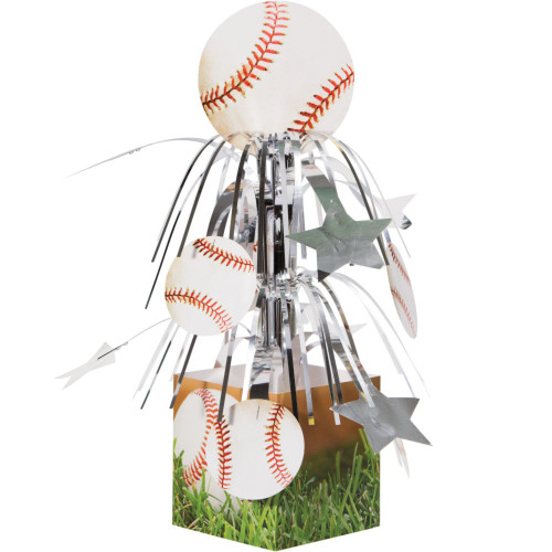 """Pack of 6 White and Red Baseball Sports Fanatic Mini Cascade Tabletop Centerpiece Party Decors 8.5"""" - IMAGE 1"""