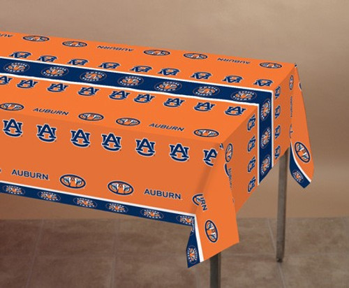 Club Pack of 12 Orange and Blue NCAA Auburn Tigers Tailgating Banquet Table Cloths 9' - IMAGE 1