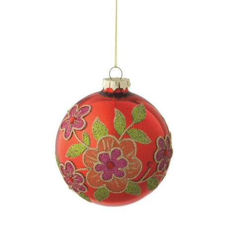 """Red and Green Glass Floral Motif Christmas Ball Ornament 3.5"""" (90mm) - IMAGE 1"""