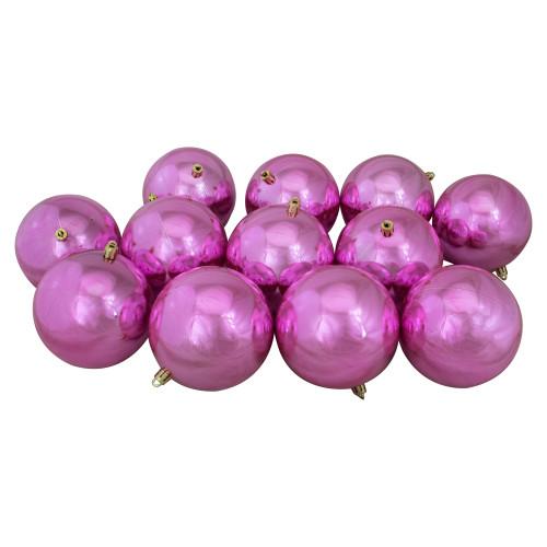 "12ct Shiny Pink Shatterproof Christmas Ball Ornaments 4"" (100mm) - IMAGE 1"