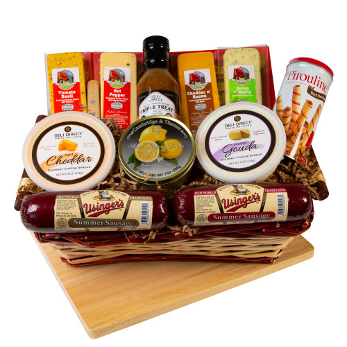 14pc Picnic Party Gourmet Summer Sausage and Cheese Gift Basket - Large - IMAGE 1