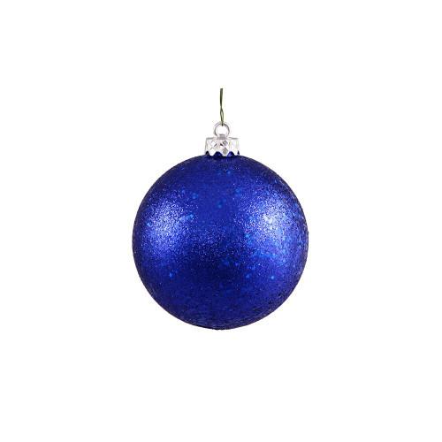 "Holographic Glitter Blue Shatterproof Christmas Ball Ornament 4"" (100mm) - IMAGE 1"