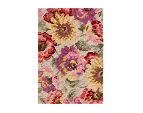 4' x 6' Succulent Floral Hand Tufted Rectangular Wool Area Throw Rug - IMAGE 1